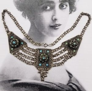 Vintage Silver Israeli Persian Turquoise necklace